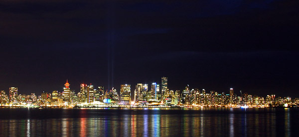 Vancouver with searchlights
